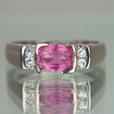Beautiful  Pink Sapphire Diamond 14 kt  Ring  GLI Litnon.com