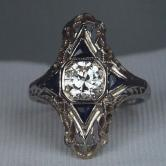 Antique! 18kt Filigree White Gold Diamond Ring GLI