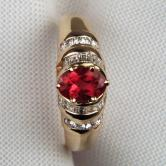 Beautiful  Rubelite Tourmaline Diamond 14 kt  Ring  GLI