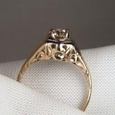 Antique! Old Mine Cut Diamond Filigree 14 kt  Gold Ring GLI