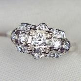 Antique ~ Vintage Platinum European Cut Diamond Ring GLI