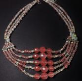 Vintage Beaded Rose Quartz Silver Necklace GLI