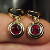 Spectral Red! Rubellite Tourmaline 14 kt Earrings 2.70 ct tw GLI