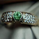 Superb Russian Demantoid Garnet! 14kt  Diamond Ring GLI