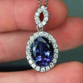 Fine Color! Tanzanite Diamond Pendant 10.25ct  GLI