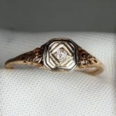 Antique! Old Mine Cut Diamond Filigree 18 kt  Gold Ring GLI