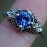 Antique Quality! 18kt White Gold Ceylon Sapphire Ring GLI
