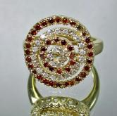 Unique Cognac &White Diamond Circle Ring 14 kt GLI