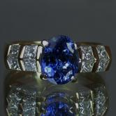 Quality! Fine Color Natural Tanzanite Diamond Ring 14kt YG GLI