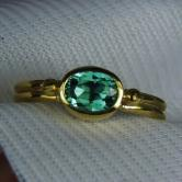 22 Karat Gold! Bright Blue Green Tourmaline Ring GLI