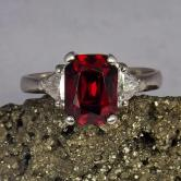 Rare! True Noble Red South East Asia Spinel Platinum Diamond Ring!