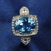 USA Made! Sterling Silver Blue Topaz - White Sapphire Ring GLI