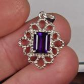 USA Made! Sterling Silver Amethyst Pendant GLI