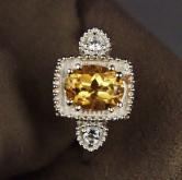 USA Made! Sterling Silver Citrine - White Sapphire Ring GLI